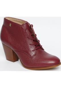 Ankle Boot Em Couro Com Amarraã§Ã£O- Vinho- Salto: 7,5Loucos E Santos