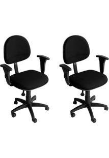 Conjunto Com 2 Cadeiras De Escritório Secretária Giratória Executiva Preto