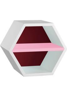 Nicho Hexagonal Favo Ii Com Prateleira Branco Com Bordo E Rosa Cristal