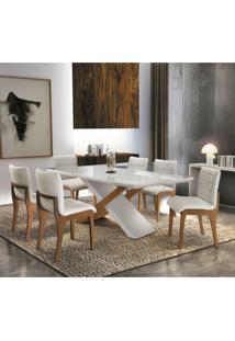 Conjunto De Mesa De Jantar Alice Com 6 Cadeiras Bella Linho Off White