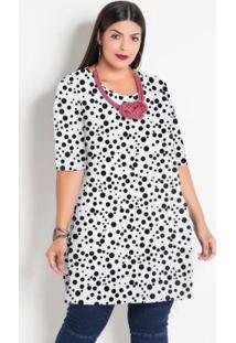 Blusa Alongada Poá Branco Plus Size Marguerite