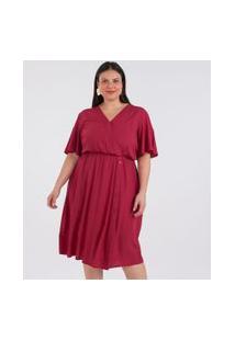 Vestido Transpassado Com Botões Curve & Plus Size   Ashua Curve E Plus Size   Vermelho   G