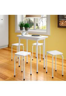 Conjunto De Mesa De Cozinha Dobrável Com 4 Lugares Asti Branco
