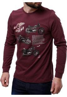 Camiseta Manga Longa Masculina Vels Vinho