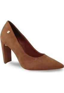 Sapato Scarpin Bottero 317801 Couro Salto Grosso Feminino - Feminino-Caramelo