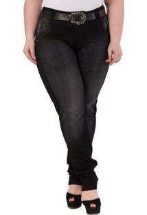 Calça Confidencial Extra Plus Size Skinny Jeans Feminina - Feminino-Preto