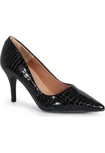 Sapato Scarpin Feminino Lara Animal Skin Preto