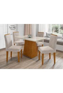 Conjunto De Mesa De Jantar Com Tampo De Vidro Jasmin E 4 Cadeiras Giovana Animalle Off White E Creme