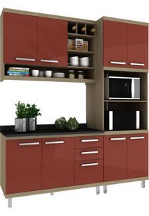 Cozinha New Vitoria 13 Avelã Hecol Móveis Vermelho/Marrom