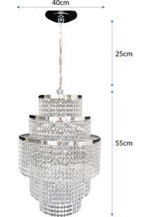 Lustre Pendente De Cristal Acrílico Alto Brilho 40X80 Lina Design Ac52