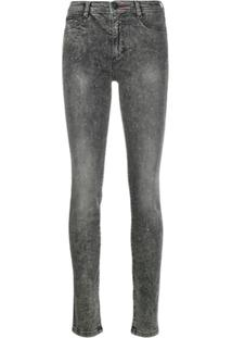 Philipp Plein High-Waist Crystal Jeggings - Cinza