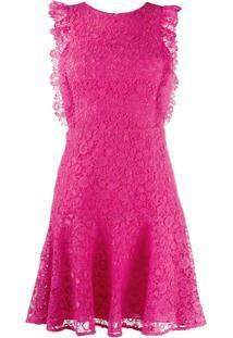 Pinko Vestido Mini Evasê De Renda - Rosa