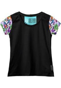 Camiseta Baby Look Feminina Algodão Estampa Folha Macia Moda - Feminino-Roxo+Preto