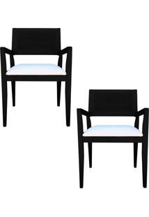 Kit 2 Cadeiras Decorativas Sala De Jantar Megan Preto Linho Bege - Gran Belo