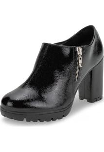 Bota Feminina Ankle Boot Via Marte - 192502 Preto/Croco 35