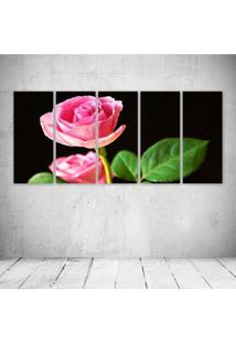 Quadro Decorativo - Pink Rose - Composto De 5 Quadros - Multicolorido - Dafiti