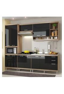 Cozinha Completa Multimóveis Com 5 Peças Sicília 5808 Argila/Preto