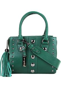 Bolsa Couro Luiza Barcelos Mini Bag Viena Tachas Feminina - Feminino-Verde