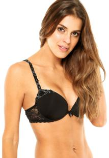 Sutiã Valisere Push-Up Bordado Renda Preto