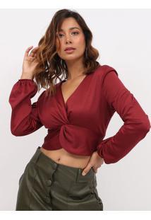 Blusa Cropped Acetinado Com Torã§Ã£O- Vermelha- Max Glmax Glamm