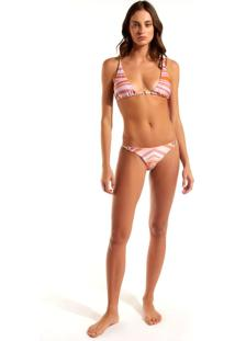 Calcinha Rosa Chá Sofi Waves Beachwear Estampado Feminina (Estampa Waves, Pp)