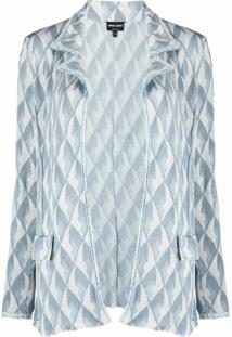 Giorgio Armani Cardigan Com Padronagem Geométrica E Abertura Frontal - Azul