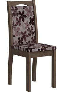 Cadeira Lívia Floral Bordô Marrocos
