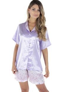 Pijama Cetim Rmb Lingerie Lilás
