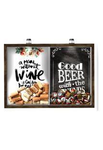 Quadro Caixa 33X43 Cm Porta Rolha Vinho E Tampinha Cerveja (2 Em 1) - Com Led Nerderia E Lojaria Breakfast E Good Beer Black Madeira