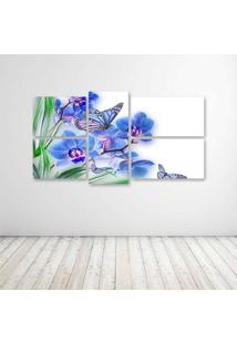 Quadro Decorativo - Flowers Butterflies Butterfly Soft - Composto De 5 Quadros