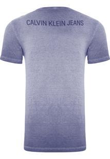 Camiseta Masculina Logo Frente E Costas - Azul