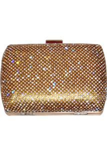 Bolsa Real Arte Clutch Strass Quadrada Dourada - Dourado - Feminino - Poliã©Ster - Dafiti