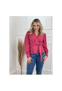 Blusa Manga Longa Laço Cintura Rosa