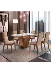 Conjunto Mesa Espanha Tampo Dakota Vidro 6 Cadeiras Turim Chocolate/Suede Pena