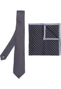 Lanvin Conjunto De Gravata E Lenço De Bolso De Seda - Preto