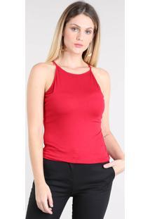 Regata Feminina Halter Neck Decote Redondo Vermelha