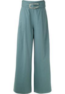Framed Calça Pantalona Cotton Com Pregas - Azul