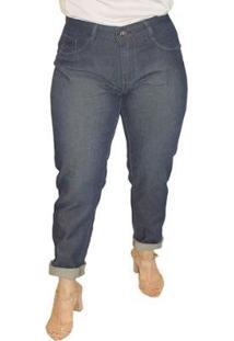 Calça Jeans Sob Reta Plus Size Cintura Alta Feminina - Feminino-Azul