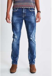 Calça Skinny Jeans Com Detalhe Em Puídos