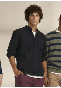 Camisa Básica Regular Em Algodão Com Elastano