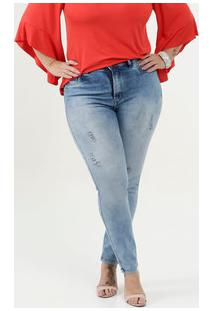 Calça Feminina Destroyed Cigarrete Plus Size Uber Jeans