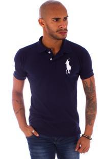 Camiseta Polo Rockstar 3 Cavaleiro Azul Marinho