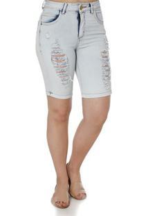 Bermuda Jeans Feminina Uber Azul