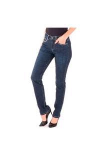 Calça Jeans Reta Amaciada Com Bordado Bicolor
