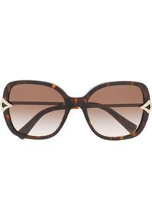Bvlgari Óculos De Sol Quadrado Com Lentes Coloridas - Marrom