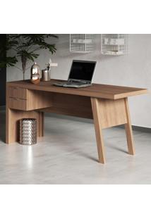 Mesa Para Escritório 2 Gavetas Me4122 Amendoa - Tecno Mobili