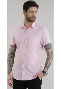 Camisa Slim Em Algodão + Sustentável Rosa Claro
