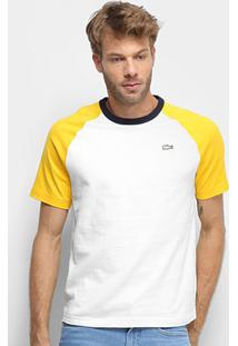 Camiseta Lacoste Live Masculina - Masculino-Branco+Amarelo