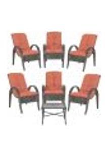 Jogo Com Cadeiras 6Un E Mesa P/ Jardim Edicula Varanda Descanso Trama Napoli Plus Tabaco A40