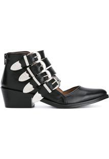 Toga Pulla Ankle Boot De Couro Com Recorte - Preto
